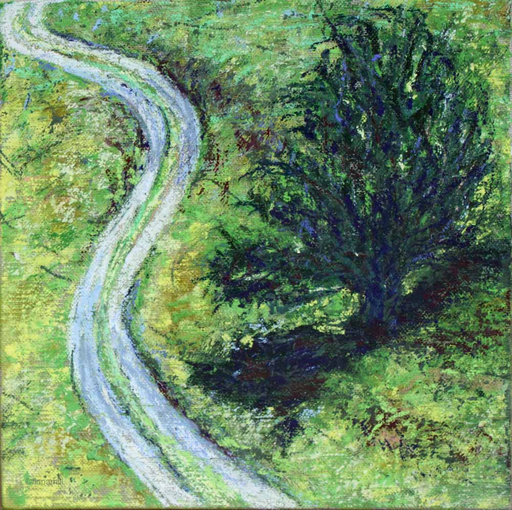 uphill, 2016;15x15cm; pastel on canvas board
