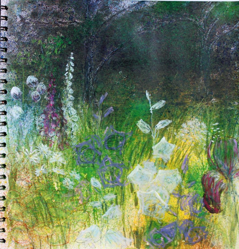 Orchard Garden, Ludstone Hall, Shropshire; acrylic & pastel