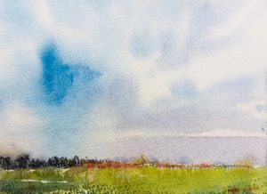 Shropshire sky, sketchbook, watercolour & pastel