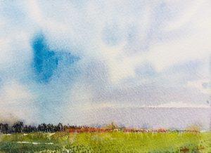 Shropshire sky, sketchbook, watercolour & pastel