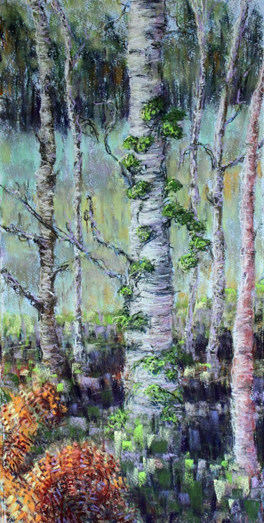 'the pathless wood', 2015, 75cm x 37cm, pastel