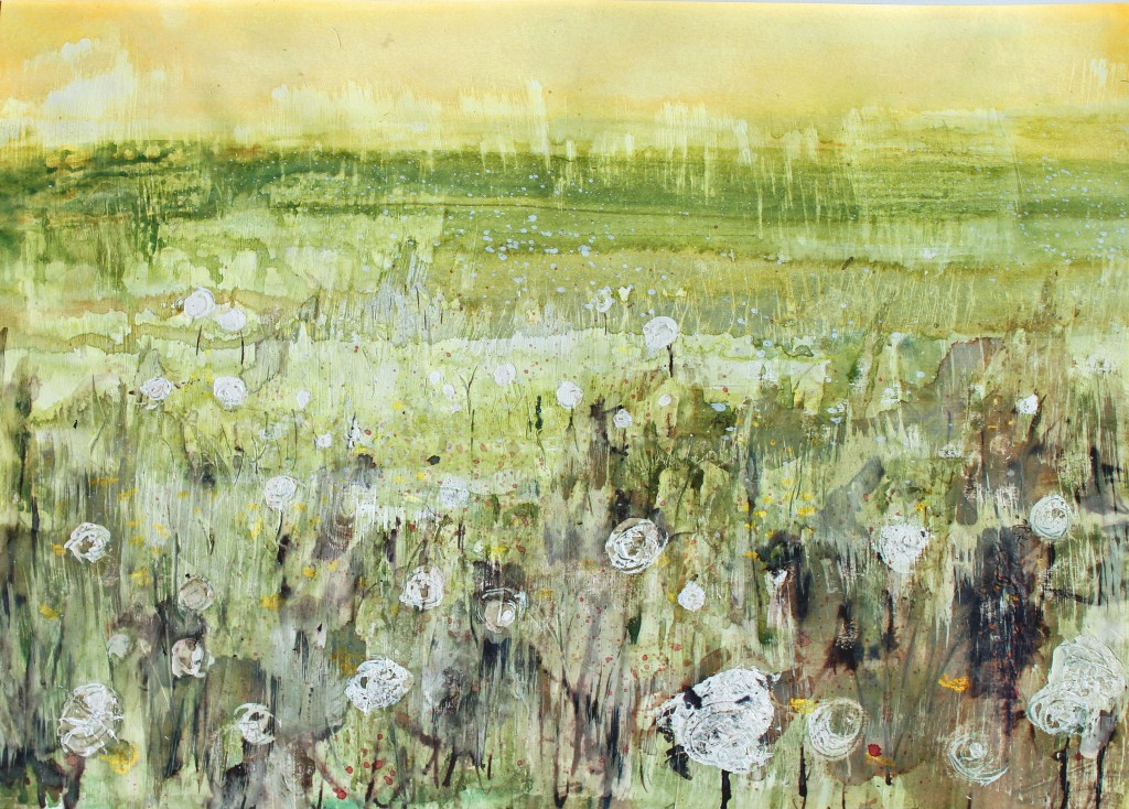 'river meadow', mixed media